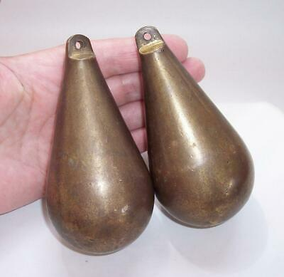 2 X Vintage BRASS Dutch CLOCK WEIGHTS Pear Shape Zaandam or Zaanse  - 1.3kg Each