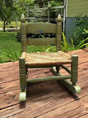 Vintage Antique Child's Hand Crafted Folkart Rocking Chair Hand Woven Seat