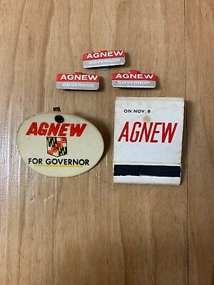 Spiro Agnew For Governor Maryland '66 Political Campaign Buttons & Matches