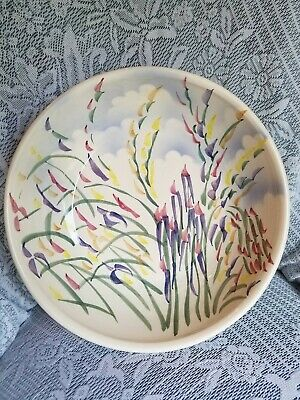"Studio Large 12"" Pottery Bowl Hand Painted Flowers & Clouds Signed Crandall"