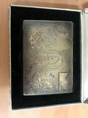Rare Antique Chinese Export Silver dragon cigarette case circa 1900-1930