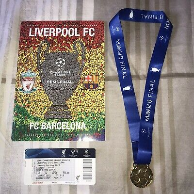 liverpool programme ticket Medal Champions League