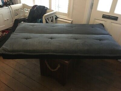 Blue and black Click Clack 3 Seater Small Double Sofa Bed in good condition