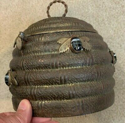 Vintage Brass Bee Hive Brass Box Container Enameled Bees Push Button Open Latch