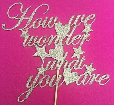 Baby Shower Cake Topper How We Wonder What You Are Gold Glitter