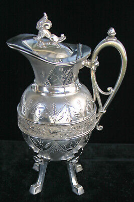 Beautiful Antique Silver Syrup Or Molasses Pitcher