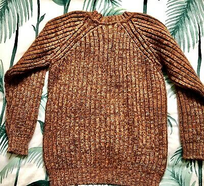 Vintage Retro Jumper Chunky Knitted Knit Sweater 100% Wool Crosby 10/12/14