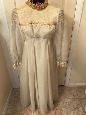 Rennnisance,Vintage 15/1900s Martha Washington royal weddingDressSzXS2/4 OfWhite