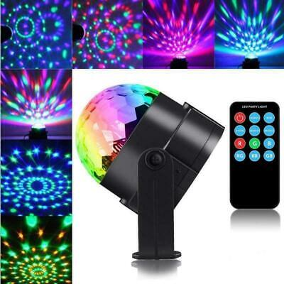 Sound Active RGB LED Stage Light Crystal Ball Disco Xmas DJ Party+Remote H0R8C
