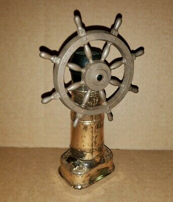 Old Spice After Shave Ship's Wheel Decanter 1980s Empty Bottle