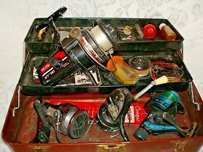 Vintage Excelsior Tackle Box With Reels, Lures, Flies