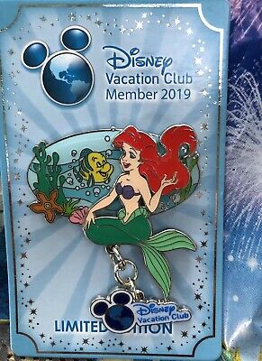 Disney Parks Ariel & Flounder The Little Mermaid DVC Vacation Club Pin LE 3500