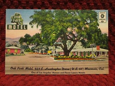 1940'S. Route 66, Oak Park Motel. Monrovia, Calif. Postcard M6
