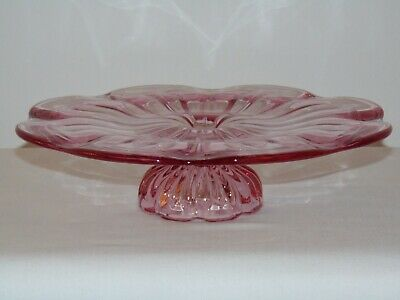 "Vintage Art Deco Pink Glass  11""  Cake Stand  Plate Footed Serving Tray"