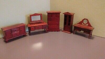 Wooden Quality Dollhouse Miniature Furniture Set Of 5 Pieces Vintage