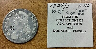 1824/4 Capped Bust Half Dollar  O-110  from Al Overton Collection COUNTERSTAMP
