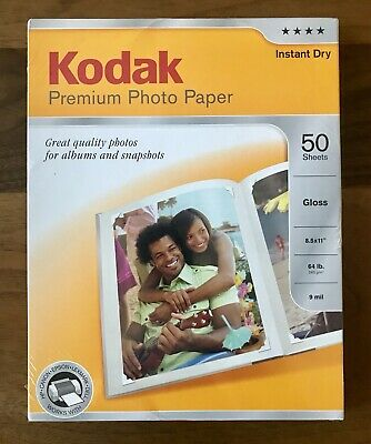 "Kodak Premium Photo Paper 50 Sheets Gloss 8.5""x11"" Instant Dry NEW"