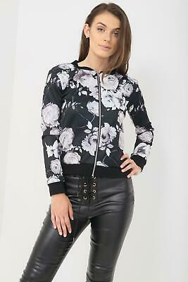 Women Ladies Floral Bomber Jacket Long Sleeves Rose Print Zip Crew Neck Coat Top