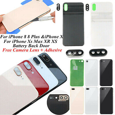iPhone 8 8 Plus XS Max XR Battery Cover Glass Housing Rear Back Door+Camera Lens