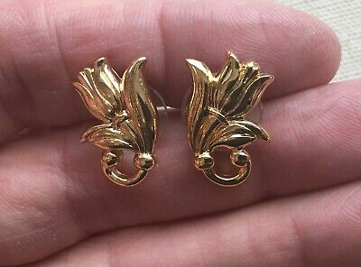 Vintage Tulip Earrings Boho Festival Spring Swirl Leaf Gold-Tone Pierced 3/4""