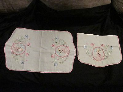 2 Pc Antique White & Pink Crochet Embroidered Doily Table Runner Dresser Scarf
