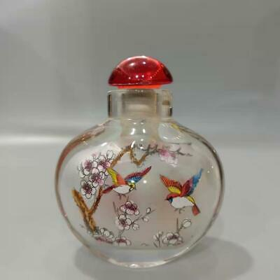 China Exquisite Glass Hand-Painted Plum And Bird Snuff Bottles BYH11`b#