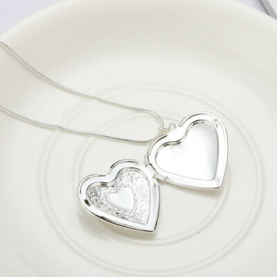925 Silver Heart Necklace Locket Photo Picture Pendant Wedding Jewelry Gifts
