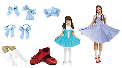 DELUXE DOROTHY WIZARD OF OZ Costume Set Dress RUBY SLIPPERS Book week Bows