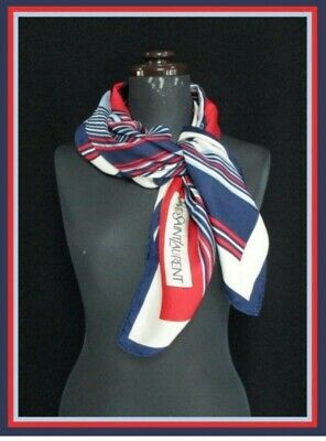 a32424798ac Vintage YVES SAINT LAURENT Silk Scarf 78×77cm YSL Navy blue Red Made in  Japan