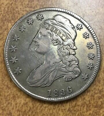 1836  Capped Bust Half Dollar  O-103 R4  from old collection cut on face