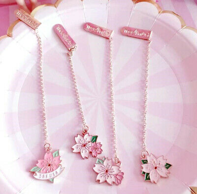 Elegant Japanese Cherry Sakura Pendant Bookmark Stationery School Office 1pc *