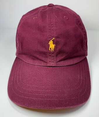 72ba9442 Polo Ralph Lauren Hat Leather Strap Pony Maroon VTG 90s Dad Cap Spell Out  NWOT