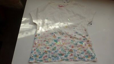 Bnwt Next Girls 3 Years White Sparkle Sequin Multi Coloured Hearts Top
