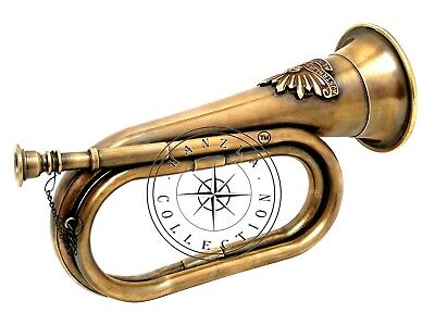 Brass Antique Bugle Horn Australian Military Forces Commonwealth With Rising Sun