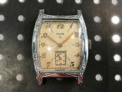Vintage Elgin men's wristwatch 1930's deco patina dial rare hinged case works