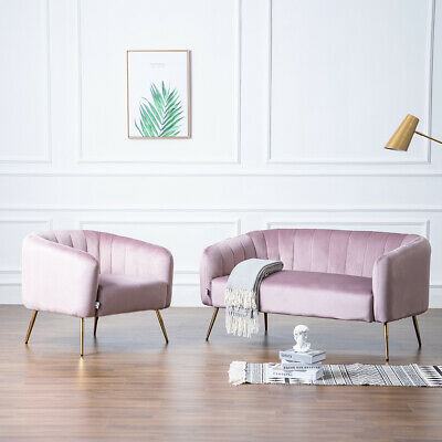 Lotus Pink 2 Seater Sofa Tub Couch Settee Armchair Velvet Fabric Lounge Chair UK
