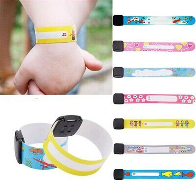 8/12* Emergency Bracelet For Kids Safety Waterproof ID Name Wrist Band Reusable