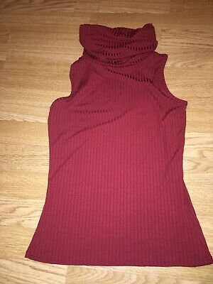 Missguided Size 8 Red Burgandy Roll Neck Top Ribbed Sleeveless