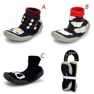 Infant Baby Girls Pattern Anti-slip Soft Rubber First Cute Walking Sock Shoes-AU