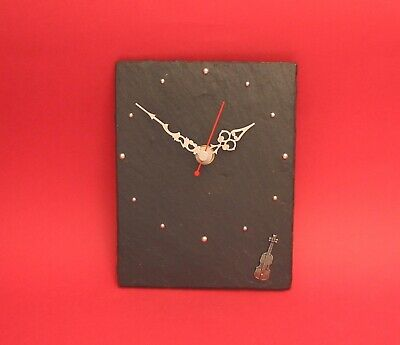 Violin Pewter Motif Slate Clock Mother Father Musician Violinist Christmas Gift