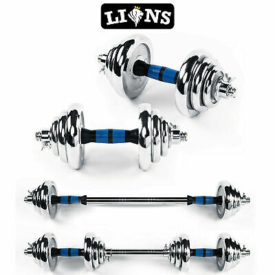 Lions Iron 20kg Dumbbells Set Weight Plates Bar Joiner Fitness Home Gym Training