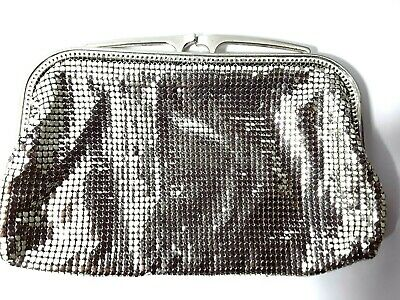 Vintage silver Glomesh lined clutch evening cocktail bag purse with original box