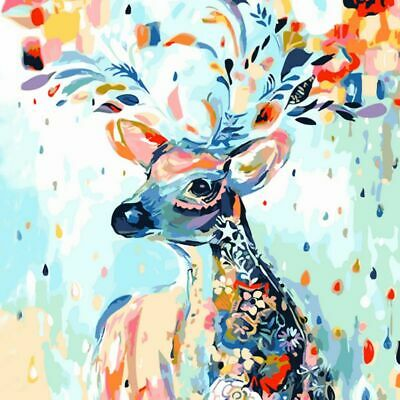 DIY Oil Painting Animal Floral By Numbers Kit Frameless Art Paint Home Decors
