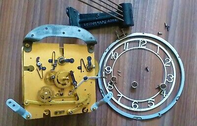 Vintage Simths Enfiled Mantel Clock Parts Spares Movement Cogs Chime Clock Face