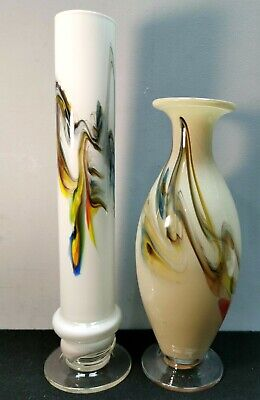 2 x DALIAN SNOWFLAKES VASES Coloured Glass 1960s to 1980s Cream White Swirl