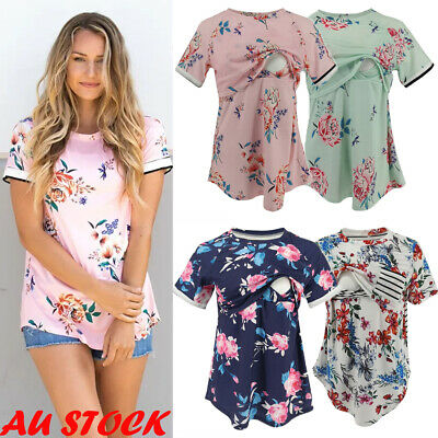 AU Summer Women Maternity Breastfeeding Nursing Tops Short Sleeve Loose T-shirt