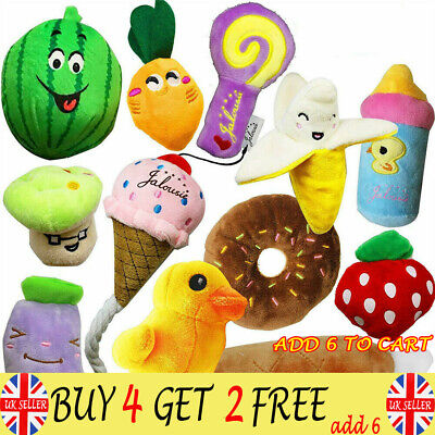 12X Pet Dog Soft Chew Toy Puppy Doggy Plush Sound Eggplant Carrot Squeaker ToyGD