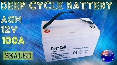 New 100Ah Agm 12V Deep Cycle Battery Sealed Camper Trailer Portable Power Led