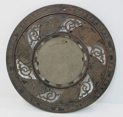 "Antique Ornate 15.5"" Cast Iron Round Floor Vent Chimney Grate Heat Register"