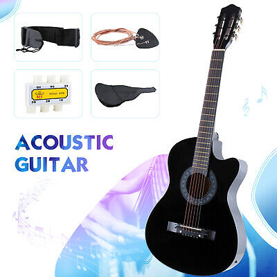"""38"""" Electric Acoustic Guitar Cutaway Design with Guitar Case, Strap, Tuner Black"""